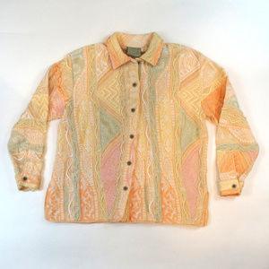 Coogi Medium Peach Flores Button Front Sweater